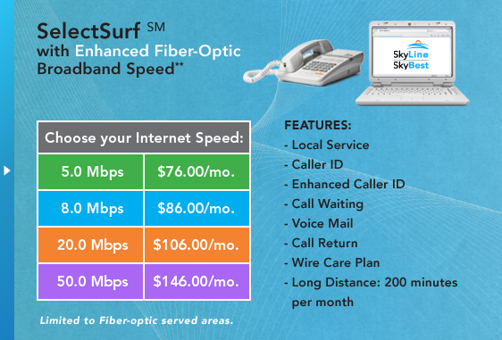 SelectSurf(SM) w/ Enhanced Fiber-Optic Broadband Speed - Local Service, Caller ID, Enhanced Caller ID, Call Waiting, Voice Mail, Call Return, Wire Care Plan, Long Distance: 200 minutes per month.