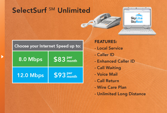 SelectSurf(SM) Unlimited - Local Service, Caller ID, Enhanced Caller ID, Call Waiting, Voice Mail, Call Return, Wire Care Plan, Unlimited Long Distance.