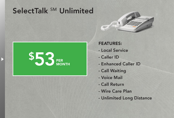 SelectTalk(SM) Unlimited - Local Service, Caller ID, Enhanced Caller ID, Call Waiting, Voice Mail, Call Return, Wire Care Plan, Unlimited Long Distance